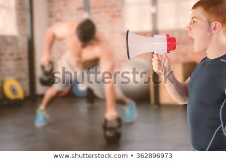 Masculina entrenador megáfono blanco de trabajo Foto stock © wavebreak_media