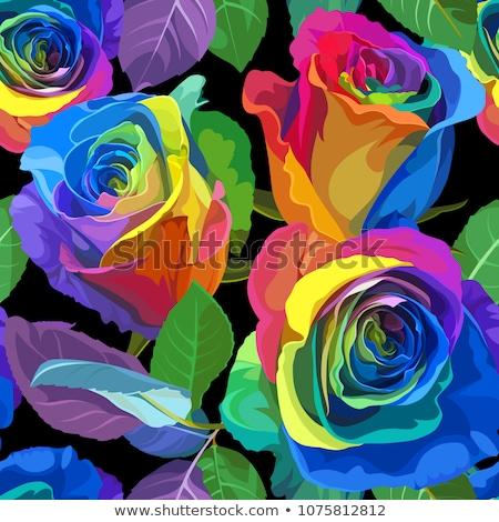 zöld · virágmintás · festék · folt · fekete · grunge - stock fotó © blackmoon979
