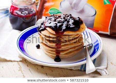 Blueberry Vanilla Protein Pancakes Stok fotoğraf © zoryanchik