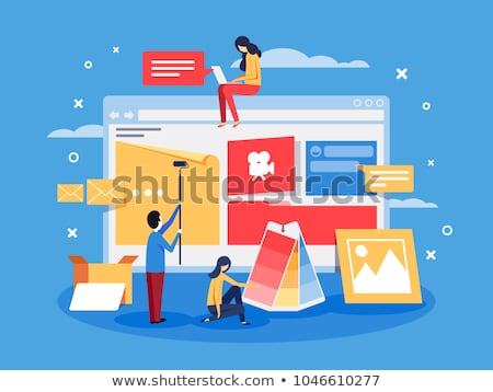Woman Constructing Web Page Vector Illustration Stock photo © robuart