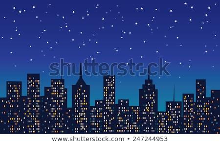 stad · illustratie · kunst · stadsgezicht · nacht · licht - stockfoto © bluering
