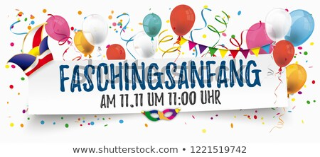 faschingsanfang paper banner balloons jesters cap 11 november stock photo © limbi007