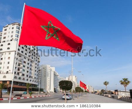 Casa bandeira Marrocos branco casas Foto stock © MikhailMishchenko