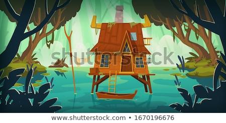 Kunyhó tavacska természet jelenet illusztráció égbolt Stock fotó © colematt