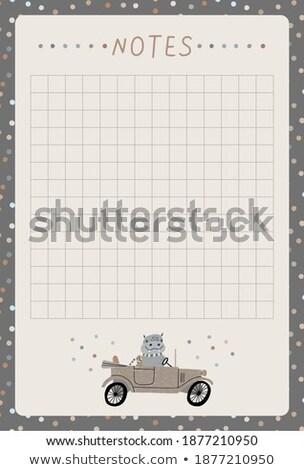 Hippopotamus on note template Stock photo © bluering