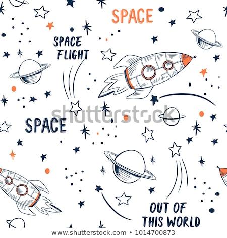 padrão · espaço · elementos · astronauta · terra · lua - foto stock © netkov1