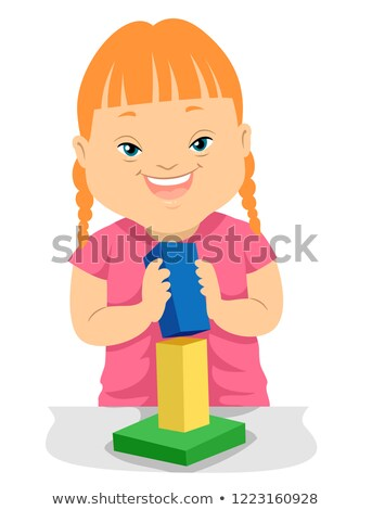 Kid Girl Down Syndrome Building Block Illustration Stock photo © lenm