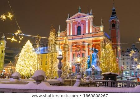 Noël temps Slovénie romantique ville centre Photo stock © kasto