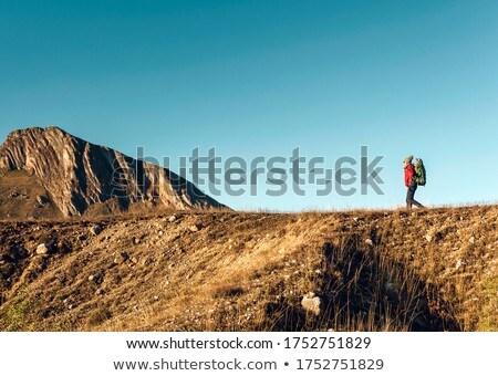 Woman exploring the montains Stock photo © iko
