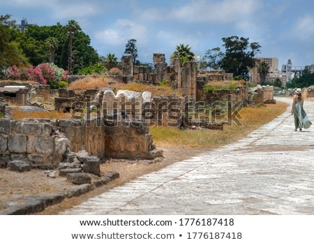 Woman Walking in Ruins of Tyre Stock photo © Anna_Om