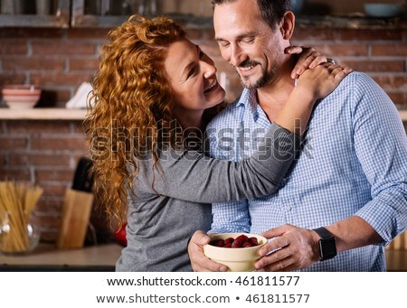 Couple having breakfast standing up Stock photo © photography33