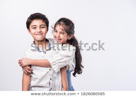 Szerető testvérek izolált kicsi fiú ölel Stock fotó © ilona75