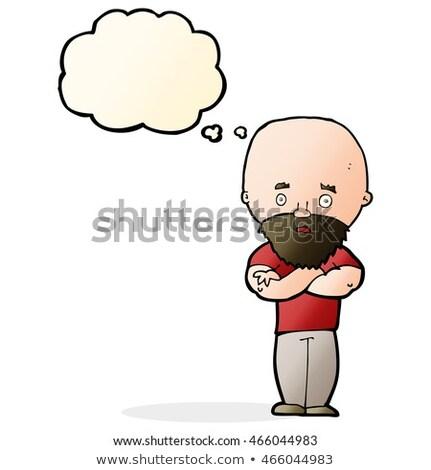 Cartoon geschokt kaal man baard gedachte bel Stockfoto © lineartestpilot