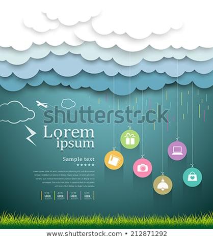 дождь облаке желтый вектора икона дизайна Сток-фото © rizwanali3d