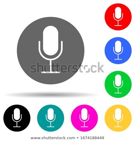Mikrofon ibolya vektor ikon terv digitális Stock fotó © rizwanali3d