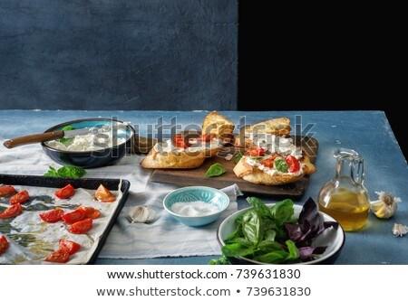 Bruschetta hozzávalók étel kenyér paradicsom főzés Stock fotó © M-studio