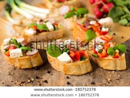 Chrupki bagietka ser plastry chleba śniadanie Zdjęcia stock © Digifoodstock