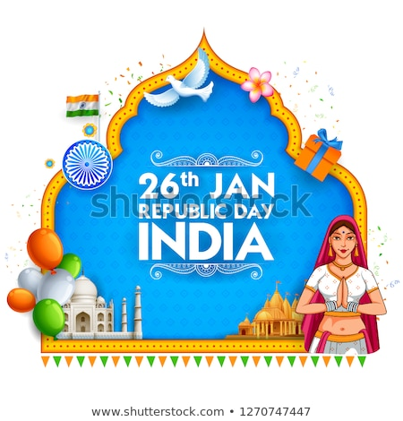 Lady in Tricolor saree of Indian flag for 26th January Happy Republic Day of India Stock photo © vectomart