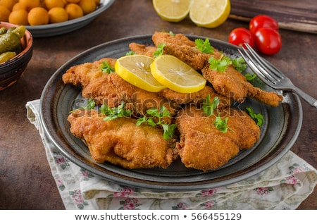 Homemade german schnitzel with pickles Stock photo © Peteer