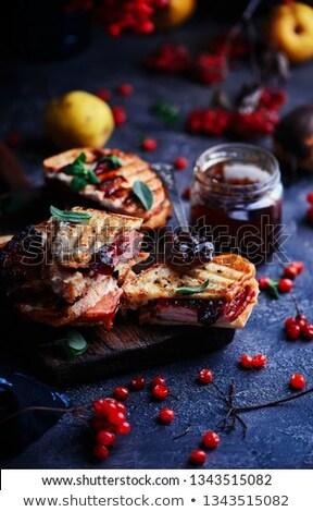 ham cheddar cranberry melt sandwich. Stock photo © zoryanchik