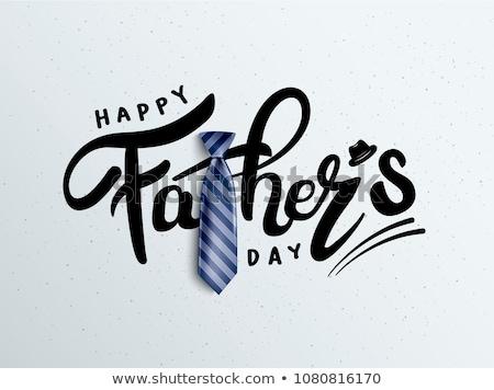 Jour de pères heureux étiquette attaché café heureux boîte Photo stock © unikpix