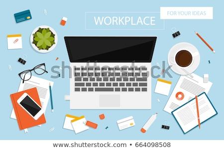 Asztal felső notebook háló grafika digitális kompozit Stock fotó © wavebreak_media