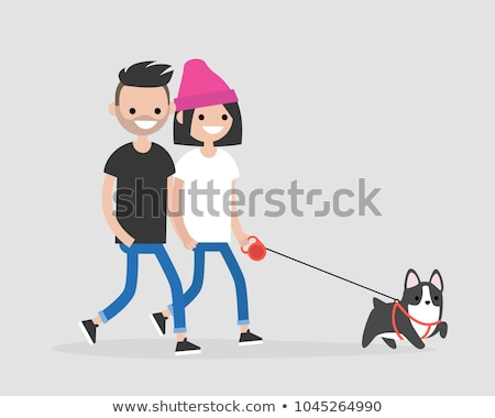 Person Going with Dog, Character with Pet Vector Stock photo © robuart