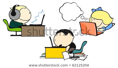 Desenho animado menina jogar computador jogos balão de pensamento Foto stock © lineartestpilot