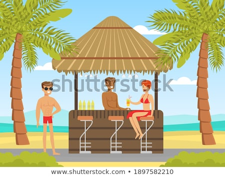 Woman in beachwear enjoying drink in beach cafe at sea Stock photo © Kzenon