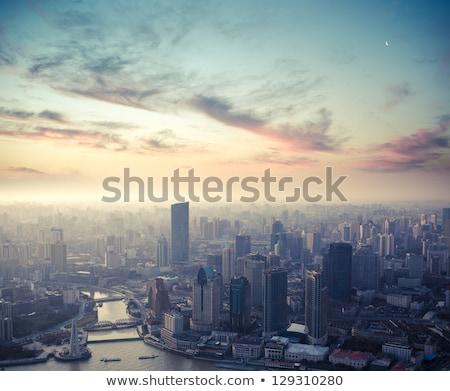 Scène stad zonsondergang illustratie hemel gebouw Stockfoto © colematt
