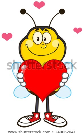 Smiling Bee Cartoon Mascot Character Holding Up A Red Heart. Stock photo © hittoon