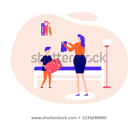Mother and son making bed together flat vector illustration Stock photo © Decorwithme