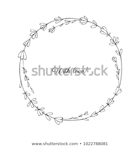 Decorative card with lavender bunch and round frame. Stock photo © artjazz