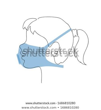 Profile of a little girl in a respirator. Preventative measures. Child protection. Continuous one li Stock photo © ESSL