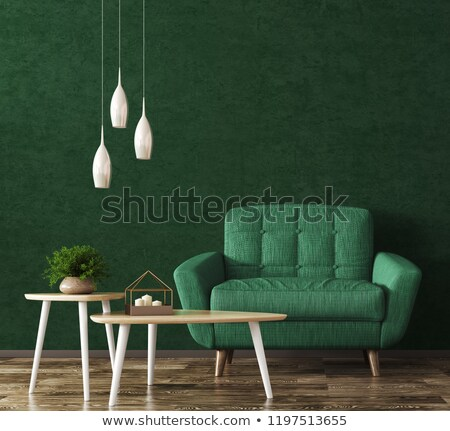 armchairs, coffee table and lamp over wooden wall Stock photo © dolgachov