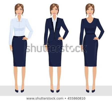 Jolie femme veste bleu jupe isolé vecteur Photo stock © robuart