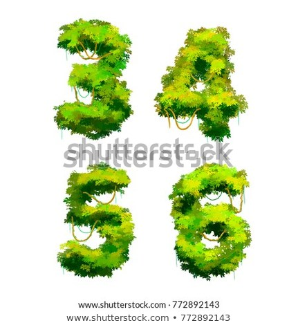Cute cartoon tropical vines and bushes font on white, 3 4 5 6 glyphs Stock photo © evgeny89