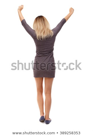 young girl to hitch a lift on white background Stock photo © vetdoctor