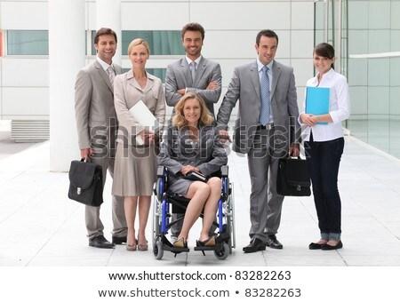 İş · ortaklarımız · toplantı · dışında · Bina · mutlu · çalışmak - stok fotoğraf © photography33