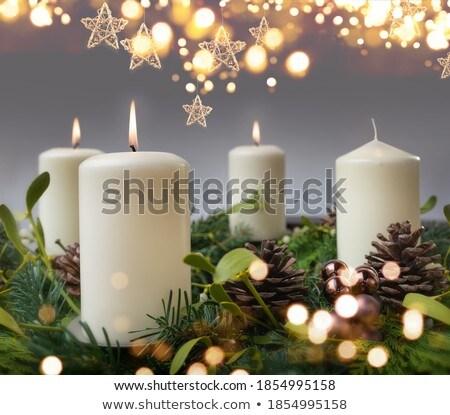 advent · koszorú · piros · gyertyák · különböző · díszek - stock fotó © tannjuska