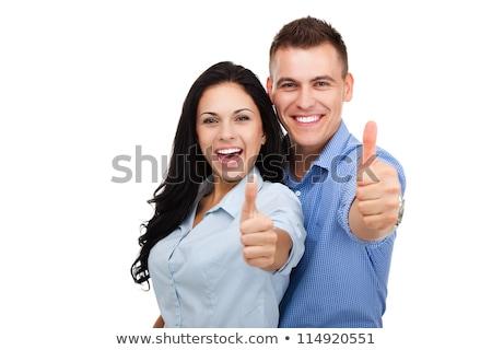 Ok mosoly kéz izolált fehér arc Stock fotó © oly5