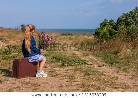 Meisje koffer zwaar shot witte business Stockfoto © fogen