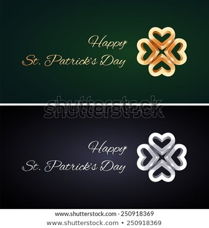 Basit Aziz Patrick Günü kartları altın gümüş jpg Stok fotoğraf © Voysla