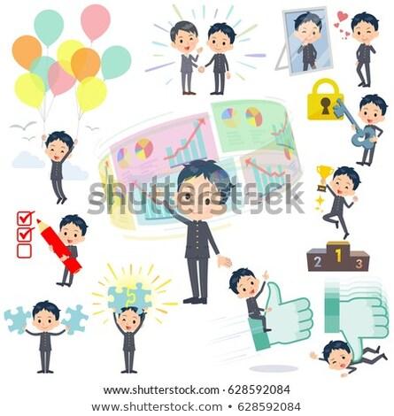 iskolás · fiú · siker · pozitív · szett · különböző · diákok - stock fotó © toyotoyo