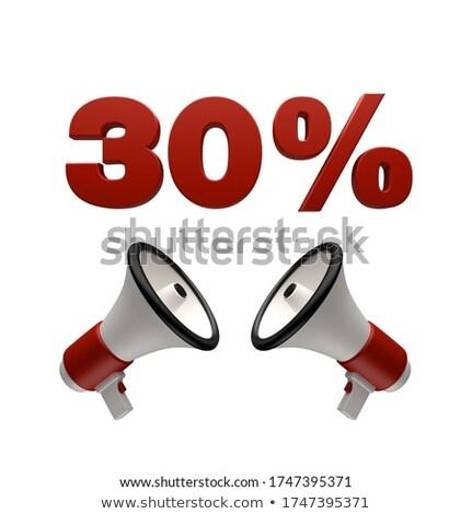 Stockfoto: 30 Percent Sign And Megaphone 3d