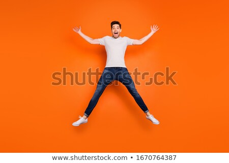 写真 楽しい 男 縞模様の Tシャツ ストックフォト © deandrobot