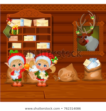 inside the old cozy wooden village house home furnishing boy and girl santa claus helpers and stra stock photo © lady-luck