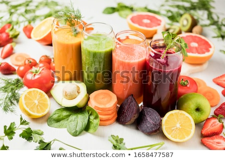 glass of beetroot juice, fruits and vegetables Stock photo © dolgachov