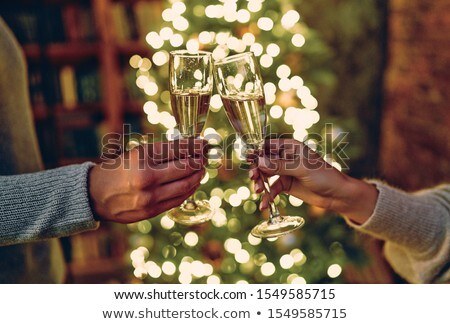 Stok fotoğraf: Friends With Champagne Glasses At Christmas Party