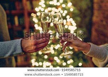 Stok fotoğraf: Arkadaşlar · şampanya · gözlük · Noel · parti · kutlama